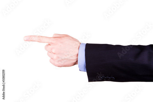 Male hand with pointing finger showing something
