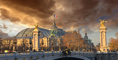 Beautiful Sky Shapes over The Grand Palais des Champs-Elysées -