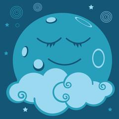 lune, planète, nuage, conte, univers, imaginaire, astre