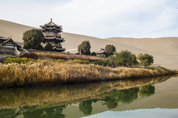 Crescent Spring and Mingyue Pavilion in the morning, Dunhuang of