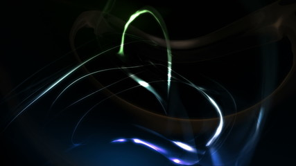 Blue and green reflective smooth black background with 3D shapes