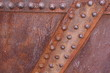 Old rusted metal background with knobbed design