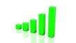 3D Green profit bar chart growing higher