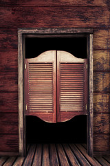 Old vintage wooden saloon doors