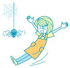 蜘蛛に驚く女性