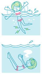 足がつって溺れる女性