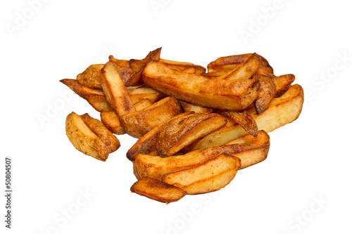Oven baked potato chips isolated