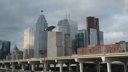 Toronto financial district. Timelapse.