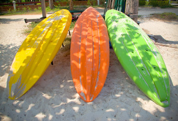 colorful boats on beach