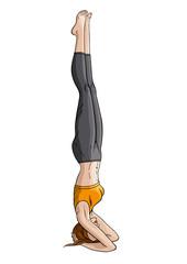 Girl doing yoga headstand (Shirshasana)
