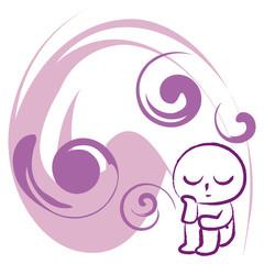 思いにふける purple