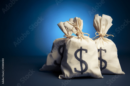 Bags full of money on a blue background