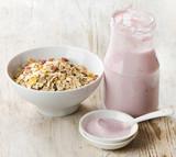 Healthy breakfast - yogurt with muesli
