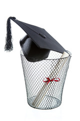 school drop out concept with hat and diploma