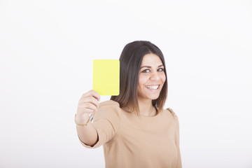 business woman with yellow card