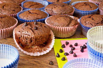 chocolat miffins with chocolat drops