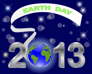 Earth Day. Silver 3-D 2013 with globe.
