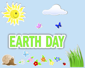 Earth Day. Set stickers.