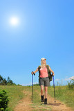 Young woman with backpack walking at sunny day in the mountain