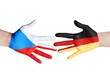 czech republic and germany symbolized with hands