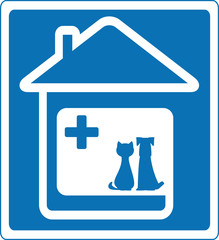 blue veterinary symbol with pet and home silhouette