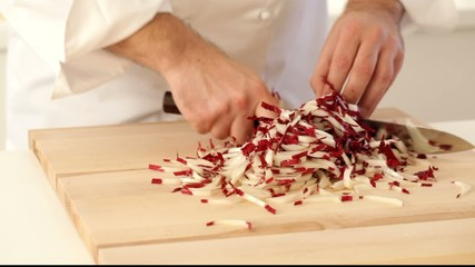 Chopping radicchio