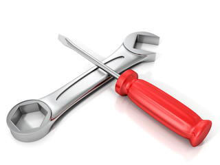 red screwdriver and wrench spanner on white background