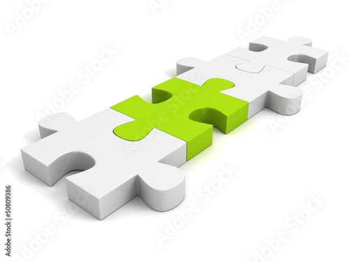 green individual puzzle on white background