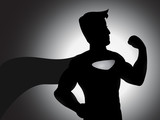 Mighty Superhero In Silhouette