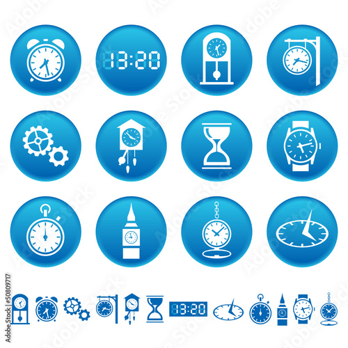 Clocks and watches icons