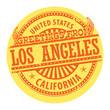 Grunge color stamp with text Greetings from Los Angeles, vector