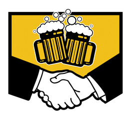 Beer symbol and business handshake, vector illustration