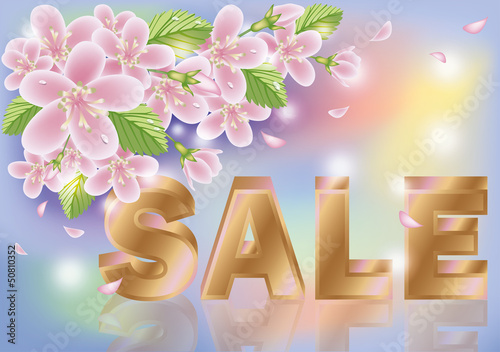 Spring sale sakura background, vector illustration