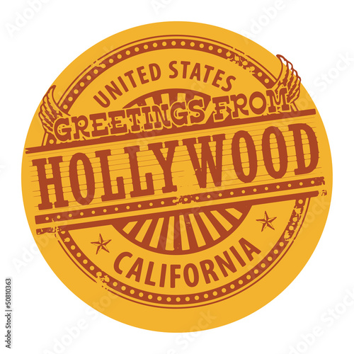 Grunge color stamp with text Greetings from Hollywood, vector