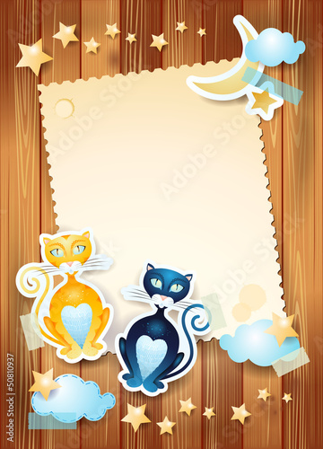 Cats and custom card on wooden background