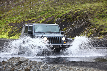 jeep wrangler in the river
