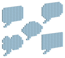 Cloud for a speech of gray cubic blocks