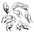 Set Hands Holding the Smart Phone