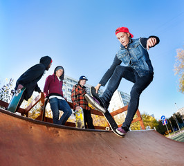 Skateboarder in skatepark