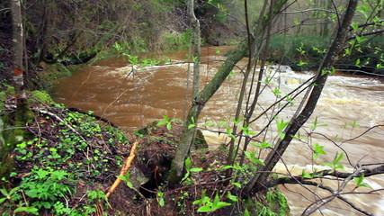 Spring boiling river. Around shot, 1080p.