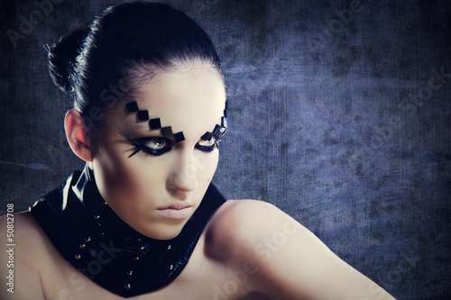 Black magic woman. Female stylish portrait.