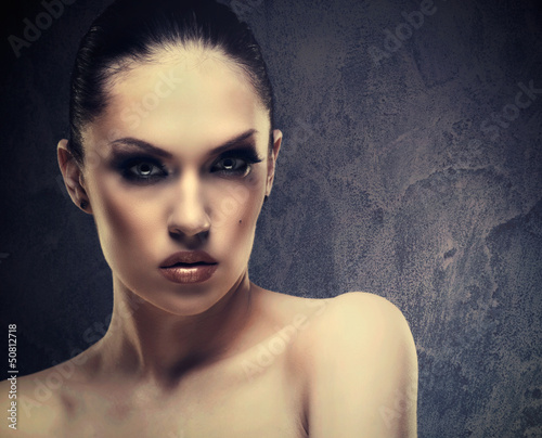 Charm. Female stylish portrait against abstract background