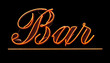 Grungy Isolated Neon Bar Sign Against Black Background
