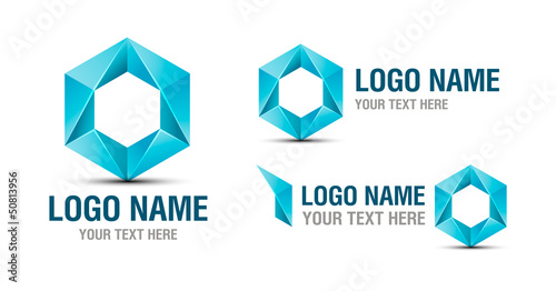 Logo abstract blue element isolated on white