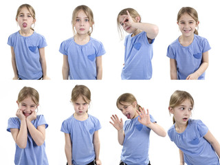Girl showing different emotions