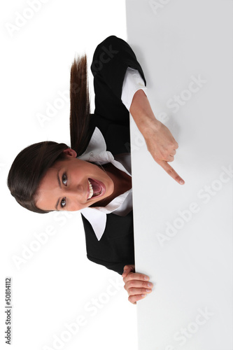 portrait of businesswoman upside down