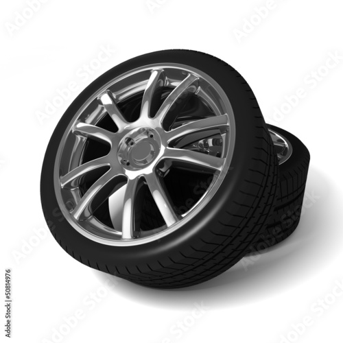 Car wheels with tires