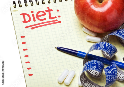 notebook with diet plan