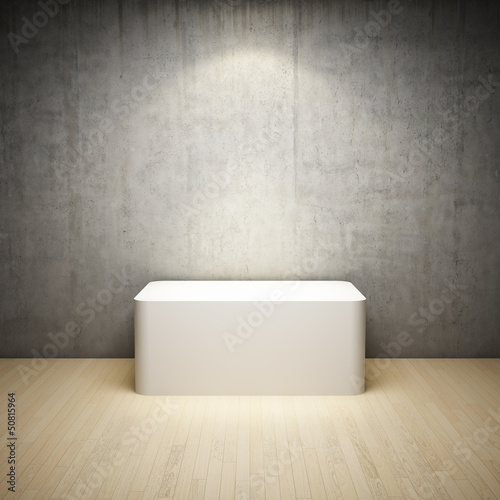 Empty white stand in interior room