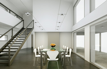 modernes Esszimmer im Loft